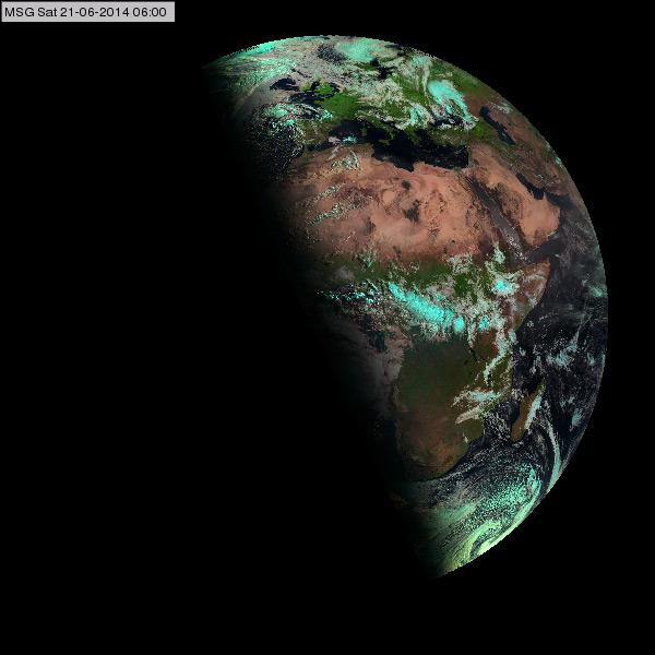 A Föld megvilágítottsága a nyári napforduló esetén